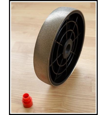 Grit: 60, 6 inch spherical lapidary wheel, plastic body