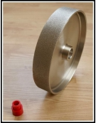 Grit: 220, 8 inch HARD lapidary wheel, steel body