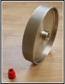 Grit: 220, 8 inch HARD lapidary wheel, steel body