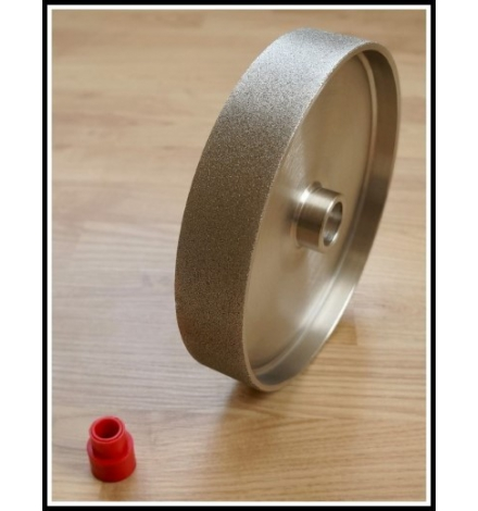 Grit: 360, 8 inch HARD lapidary wheel, steel body